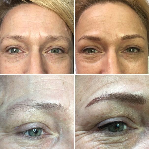 eyeliner en wenkbrauwen